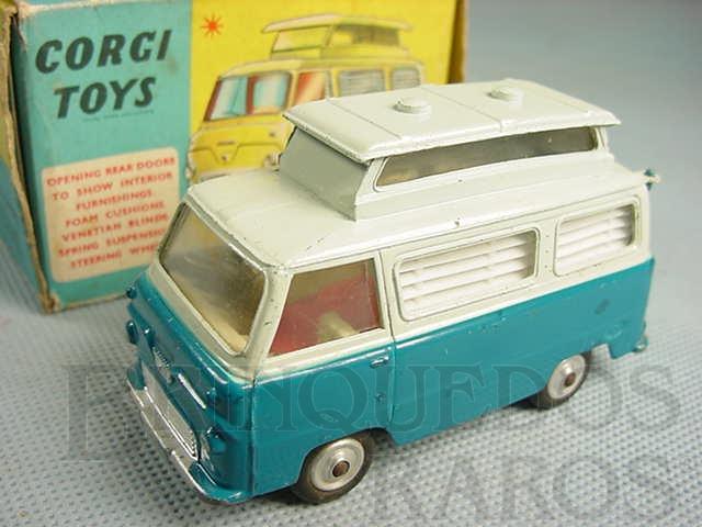 Brinquedo antigo Ford Thames Airborne Caravan azul Década de 1960