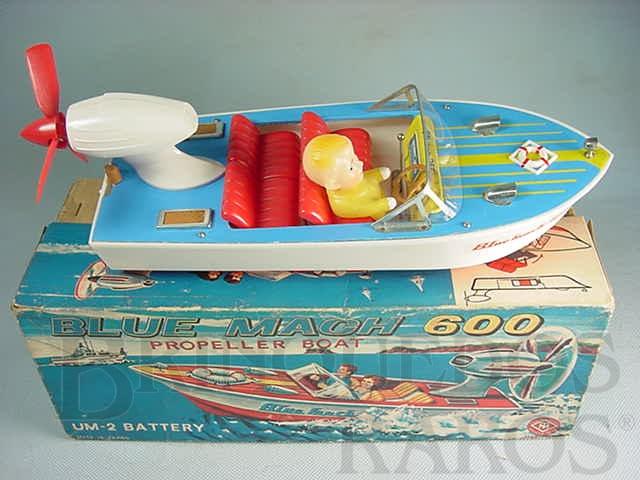Brinquedo antigo Lancha Blue Mach 600 com 26,00 cm de comprimento Deck de madeira completa com Boneco Década de 1960