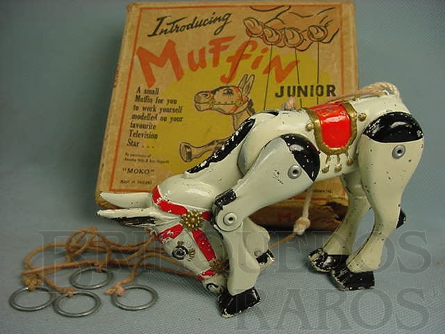 Brinquedo antigo Marionete Burrico Muffin The Mulle com 16,00 cm de comprimento Ano 1951
