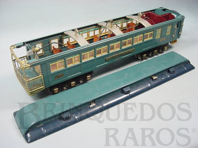 Brinquedo antigo Carro de Passageiros Tempel 422 Série Blue Comet Standard Gauge com detalhamento interno Ano 1933