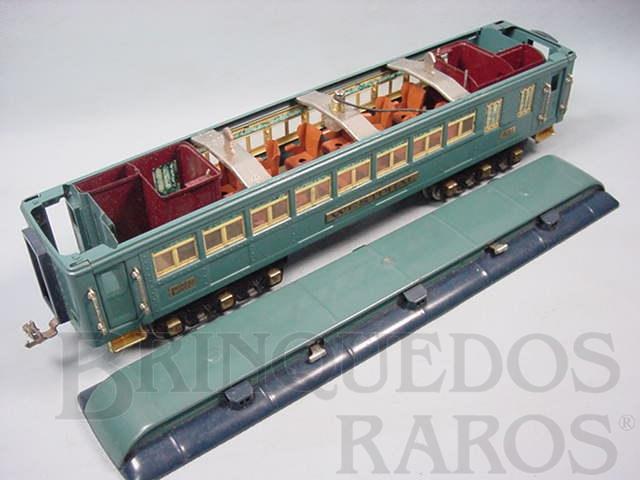 Brinquedo antigo Carro de Passageiros Westphal 421 Série Blue Comet Standard Gauge com detalhamento interno Ano 1933