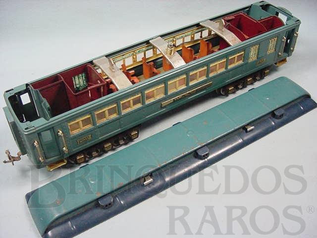 Brinquedo antigo Carro de Passageiros Faye 420 Série Blue Comet Standard Gauge com detalhamento interno Ano 1933