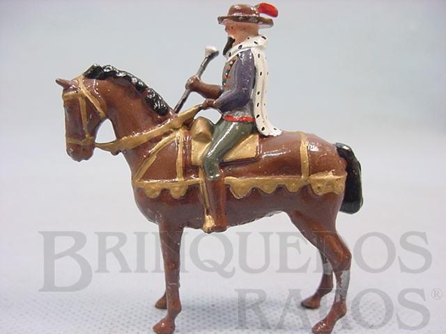 Brinquedo antigo Figura a cavalo Marshal Juiz de torneios medievais Década de 1930