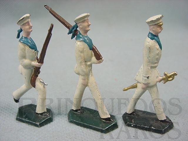Brinquedo antigo Conjunto completo de três Marinheiros Semi-Flat forma Schneider