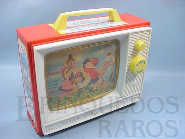 Brinquedo antigo Music Box TV Com as Melodias London Bridge e Row Row Row Your Boat Década de 1950