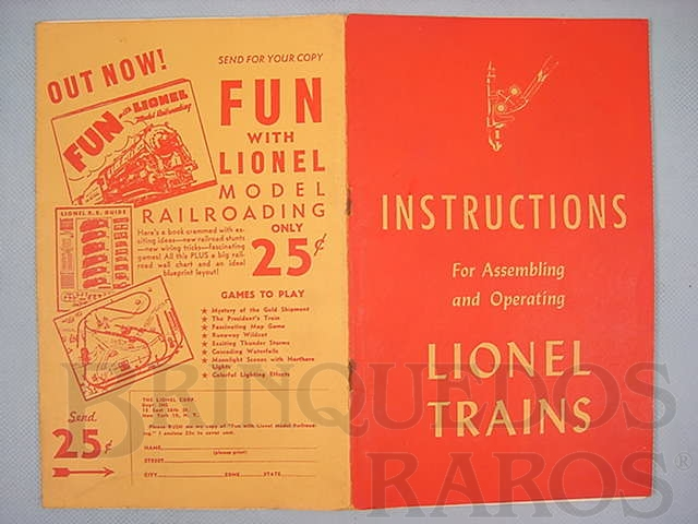 Brinquedo antigo Manual Instructions For Assembling and Operating Lionel Trains 40 páginas Capa Vermelha Copyright 1947