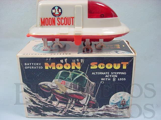 Brinquedo antigo Veículo Lunar M.S.8 Moon Scout com 17,00 cm de comprimento Movimento através de oito patas Década de 1970
