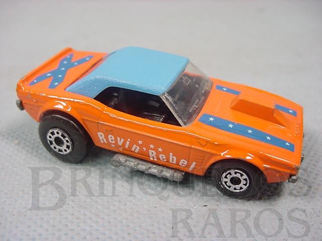 Brinquedo antigo Dodge Challenger Superfast laranja Revin Rebel