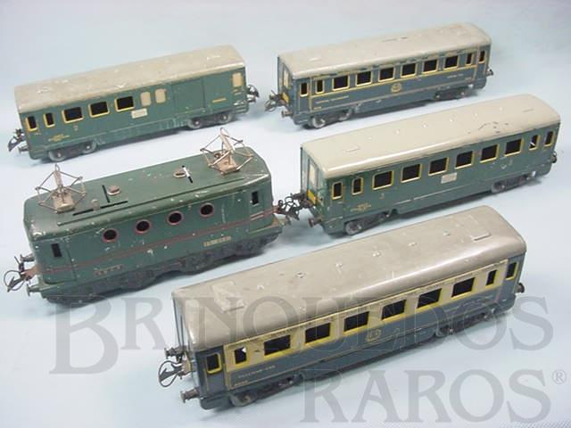 Brinquedo antigo Conjunto com Locomotiva elétrica e quatro Carros de Passageiros Bitola O Hornby Paris Acompanha trilhos e transformador Década de 1930