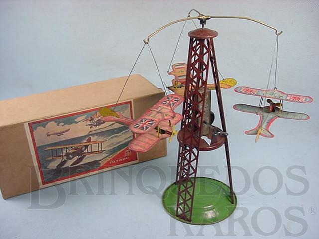 Brinquedo antigo Torre de 22,00 cm de altura com tres aviões biplanos Final da década de 1920