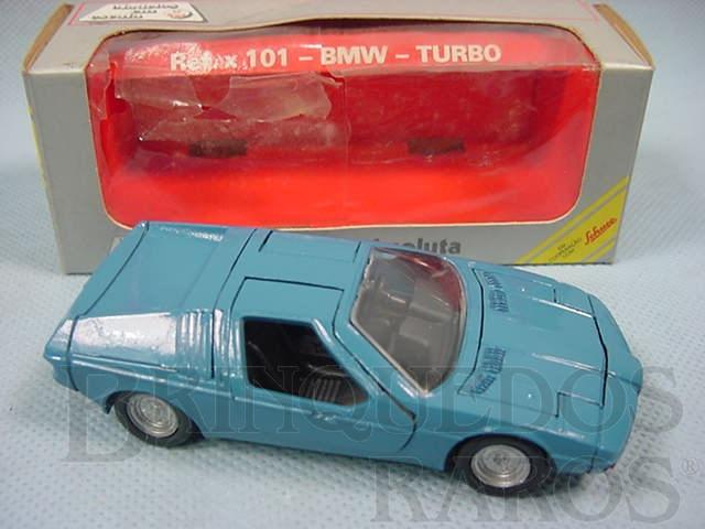 Brinquedo antigo BMW Turbo azul Brasilianische Schuco Rei