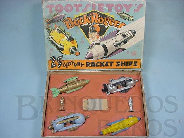 Brinquedo antigo Conjunto completo com quatro naves e duas figuras Buck Rogers 25th Century Rocket Ships Ano 1937