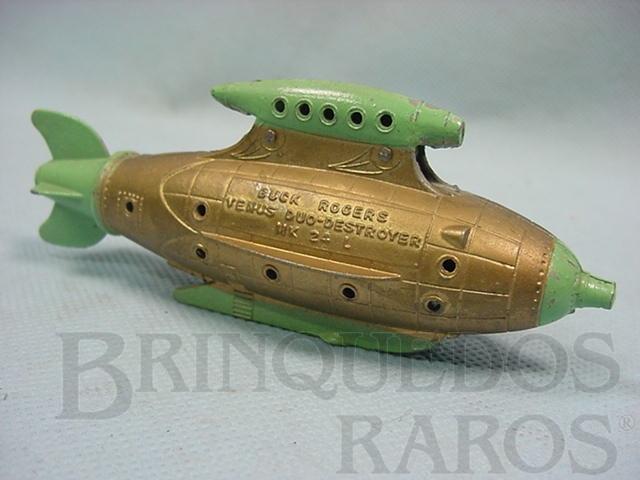 Brinquedo antigo Nave Espacial Battle Cruiser dourada com 12,00 cm de comprimento Buck Rogers 25th Century Rocket Ships Ano 1937