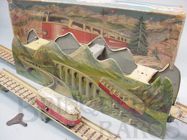 Brinquedo antigo Pista com Automotriz Mountain Express Made in US Zone Década de 1950