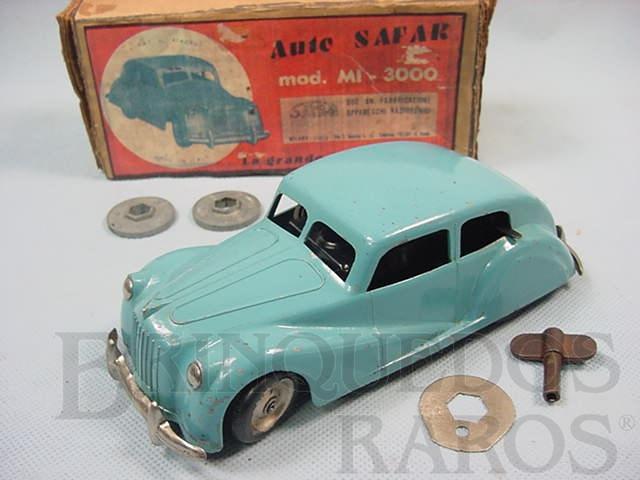 Brinquedo antigo Carro Auto Safar com 18,00 cm de comprimento Percurso programavel Acompanha dois discos de programação Ano 1947