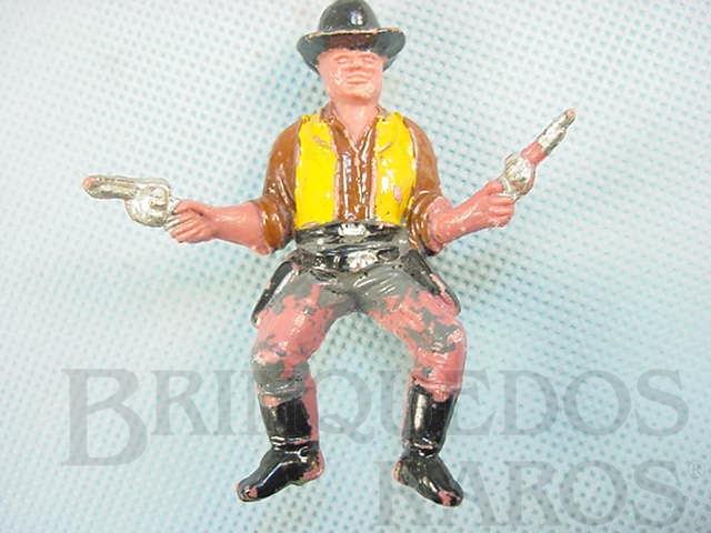Brinquedo antigo Cowboy montado a cavalo com dois revolveres Ross Cartwright Casablanca numerado 168 Série Fazenda Ponderossa Década de 1960
