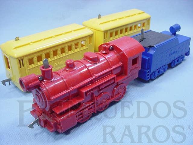 Brinquedo antigo Conjunto com locomotiva a vapor e dois Carros de Passageiros Importado e distribuído pela Estrela Ano 1948