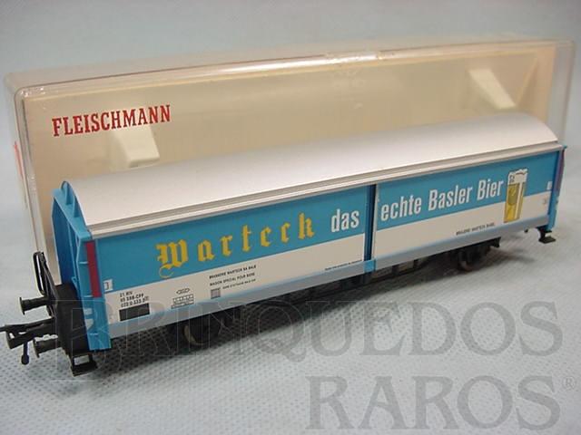 Brinquedo antigo Vagão furgão com laterais deslizantes Cerveja Marteck Ferrovia estatal suíça Década de 1970