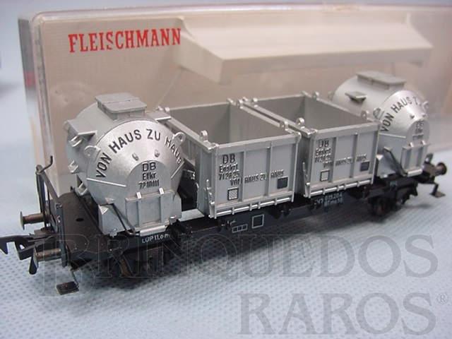 Brinquedo antigo Vagão prancha com containers siderúrgicos DB Década de 1970