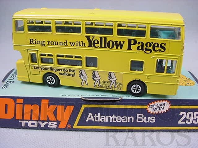 Brinquedo antigo Atlantean Bus Yellow Pages Década de 1970