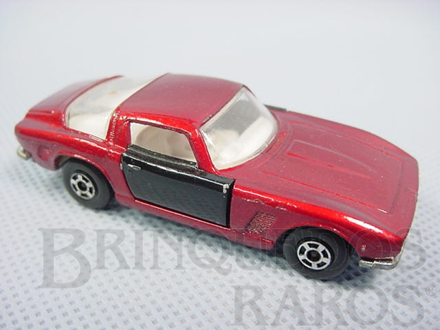 Brinquedo antigo Iso Grifo vermelho metálico com portas pretas Superfast Brazilian Matchbox Inbrima Década de 1970