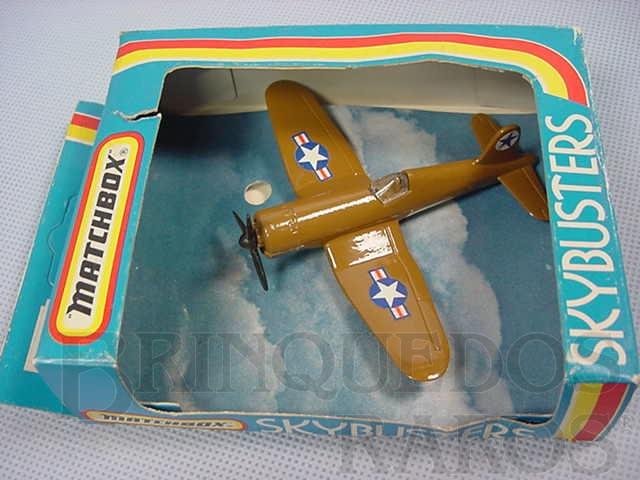 Brinquedo antigo Corsair F4U Sky Busters marrom Brazilian Matchbox Inbrima 1970