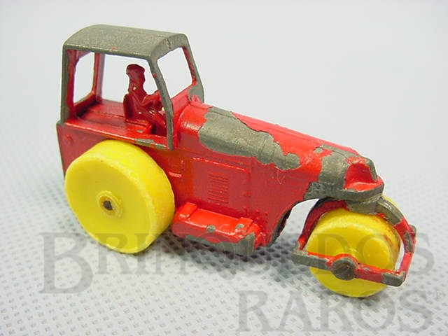 Brinquedo antigo Aveling Barford Road Roller vermelho Yellow Plastic Wheels Brazilian Matchbox Irta 1960