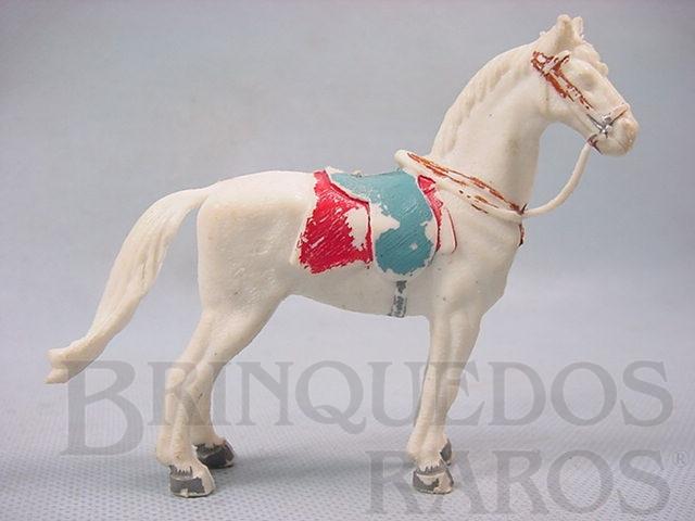 Brinquedo antigo Cavalo de Cowboy branco Séries Planície Selvagem e Independência ou Morte Década de 1970