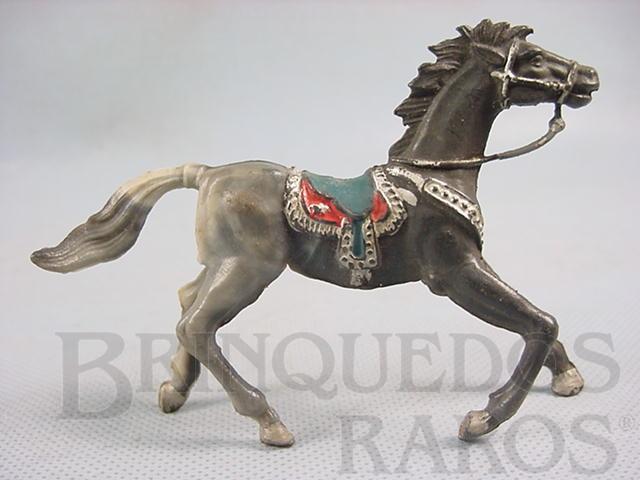 Brinquedo antigo Cavalo de Cowboy cinza malhado