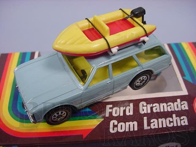 Brinquedo antigo Ford Granada Turnier azul com Bote à motor Brasilianische Siku Alfema