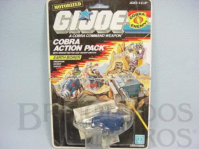 Brinquedo antigo Action Pack Cobra Earth Borer completo lacrado Ano 1987