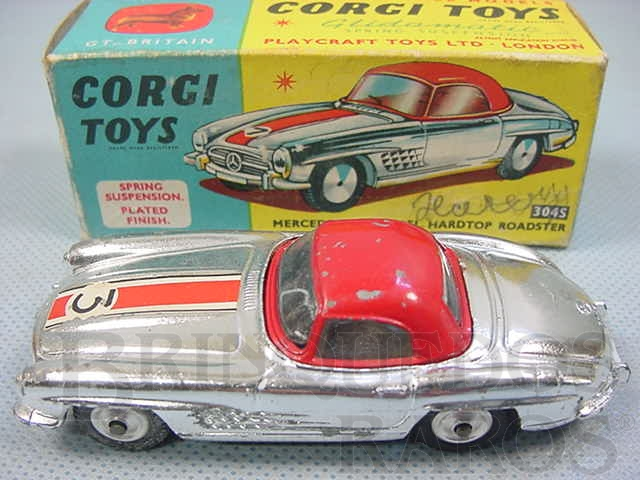 Brinquedo antigo Mercedes Benz 300 SL Hardtop Roadster Cromado Ano 1959