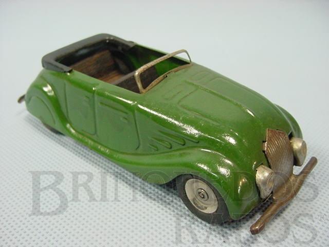 Brinquedo antigo Carro conversível Streamline Sports Tourer Minic verde com bancos de madeira 13,00 cm de comprimento Década de 1940