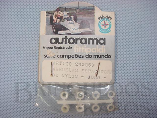 Brinquedo antigo Conjunto de arruelas espaçadoras de nylon Embalagem lacrada Década de 1970