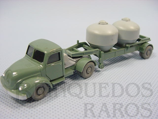 Brinquedo antigo Cavalo Mecânico Magirus Deutz com carreta transporte de produtos químicos