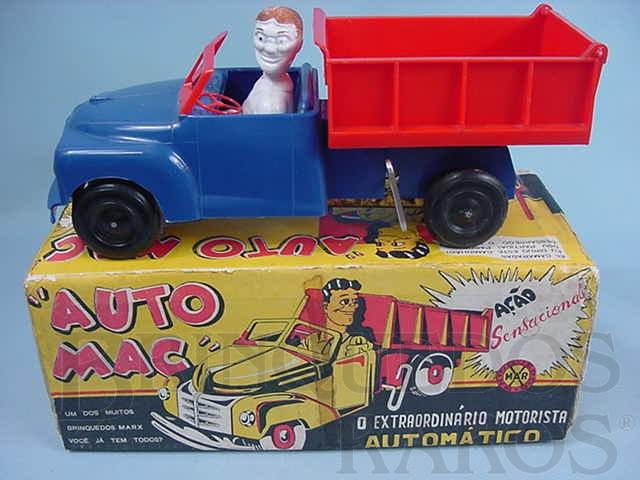 Brinquedo antigo Caminhão Basculante com 29,00 cm de comprimento O motorista olha para trás automaticamente Década de 1970