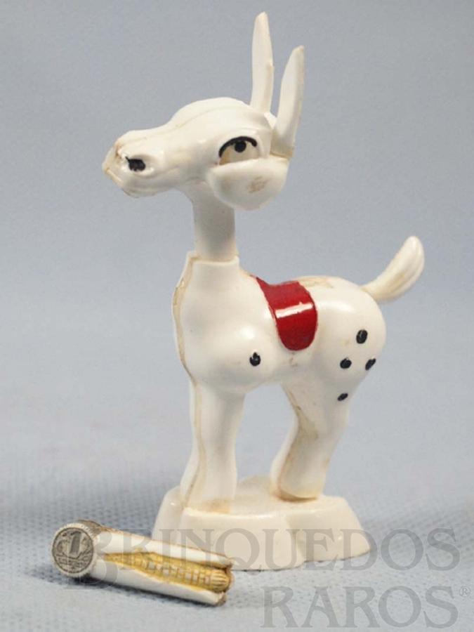 Brinquedo antigo Burrinho Zé Pachola com 9,00 cm de altura Move a cabeça e abre a boca acompanhando a espiga de milho Década de 1960