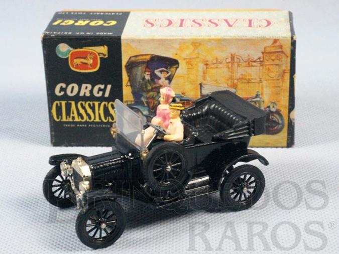 Brinquedo antigo Ford Model T 1915 preto conversível Corgi Classics Com figuras