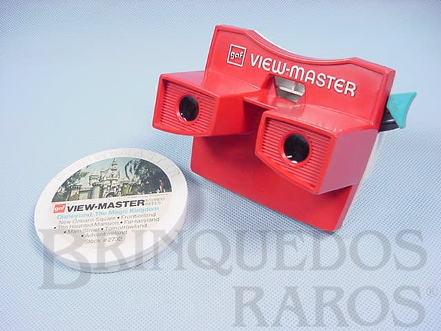 Brinquedo antigo Visor View Master com 5 discos da Disneylândia Walt Disney Década de 1970