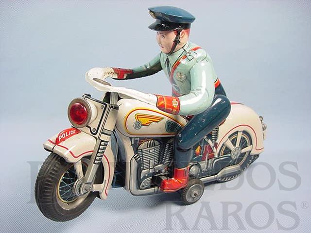 Brinquedo antigo Motocicleta de Polícia Atom Police Motorcycle com 30,00 cm de comprimento O Policial monta e desmonta da moto Década de 1960