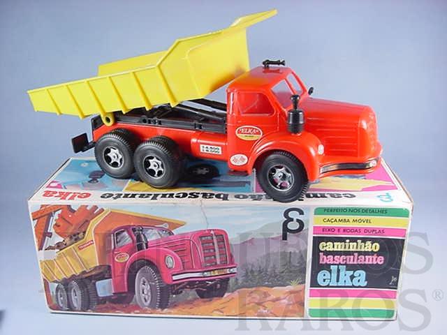 Brinquedo antigo Caminhão Basculante Elka Scania Vabis L76 com 38,00 cm de comprimento Década de 1970