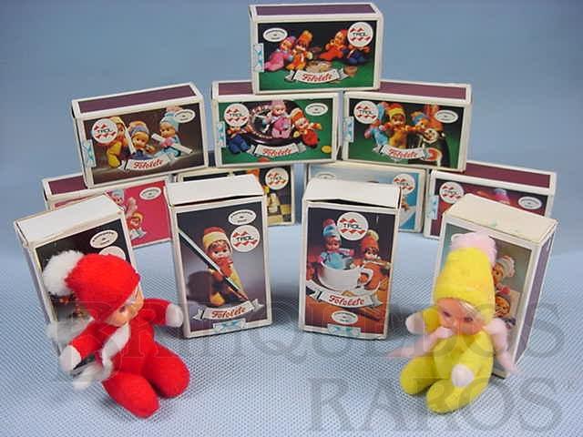Brinquedo antigo Coleção Fofolete completa com 12 Bonecas diferentes Década de 1970