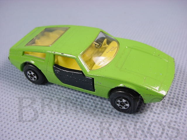 Brinquedo antigo Maserati Bora verde com portas pretas Superfast Brazilian Matchbox Inbrima 1970
