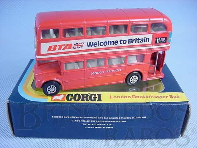 Brinquedo antigo Routemaster London Bus Welcome to Britain Década de 1970