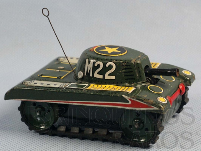 Brinquedo antigo Tanque de guerra com esteiras de borracha 8,00 cm de comprimento Década de 1970