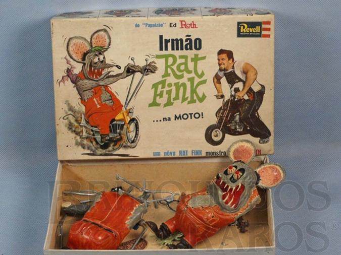 Brinquedo antigo Monstro Rat Fink pintado sem montar Falta o manual de montagem Ed Roth Década de 1960