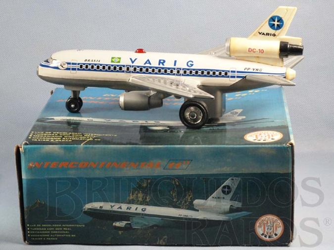 Brinquedo antigo Avião McDonnell Douglas DC-10 com 30,00 cm de comprimento Varig Brasil Década de 1980