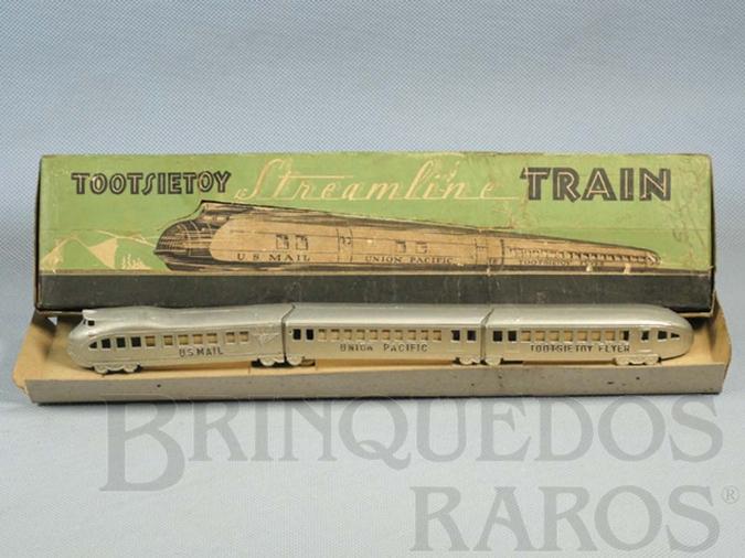 Brinquedo antigo Conjunto com locomotiva e dois Carros de Passageiros com 30,00 cm de comprimento Streamline Train Década de 1930