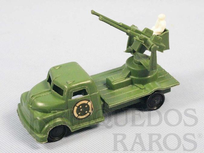 Brinquedo antigo Caminhão militar Metralhadora Anti Aérea do Exército Brasileiro Década de 1970
