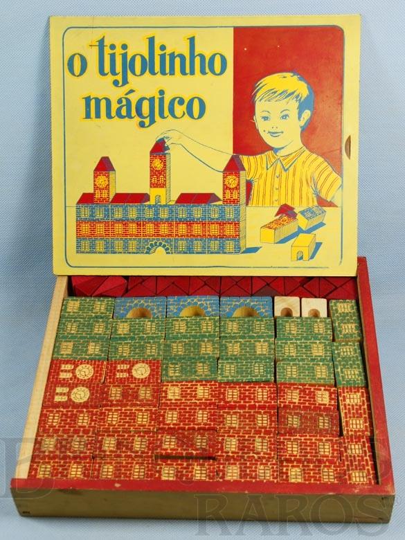 Brinquedo antigo Conjunto de Montar O Tijolinho Mágico completo com 76 peças em alto relêvo Década de 1960